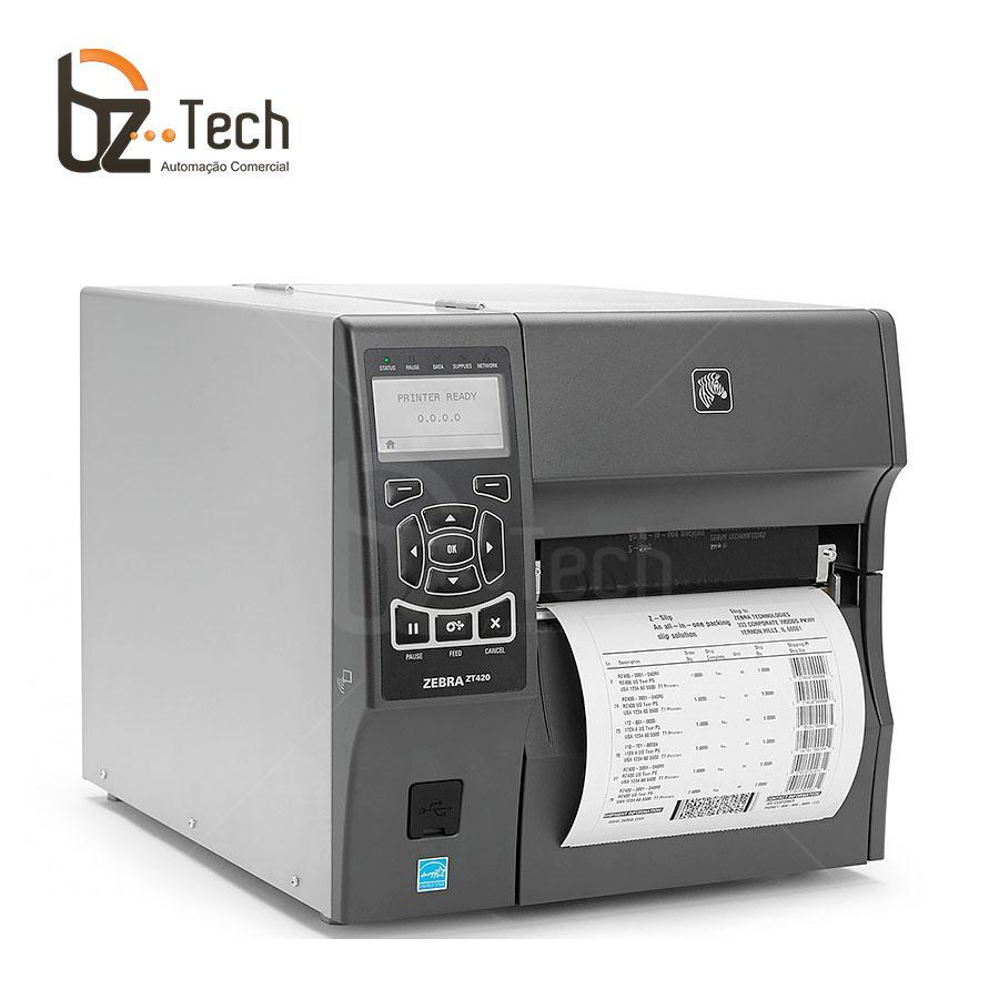 Zebra Impressora Etiquetas Zt420 203dpi Peel Off Ethernet